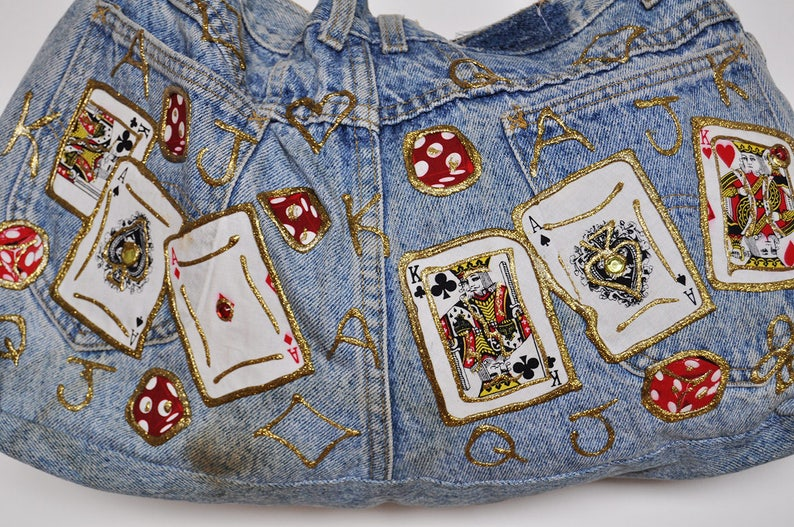 Vintage Lee Jeans Playing Cards Patches and Gold Paint Shoulder Bag