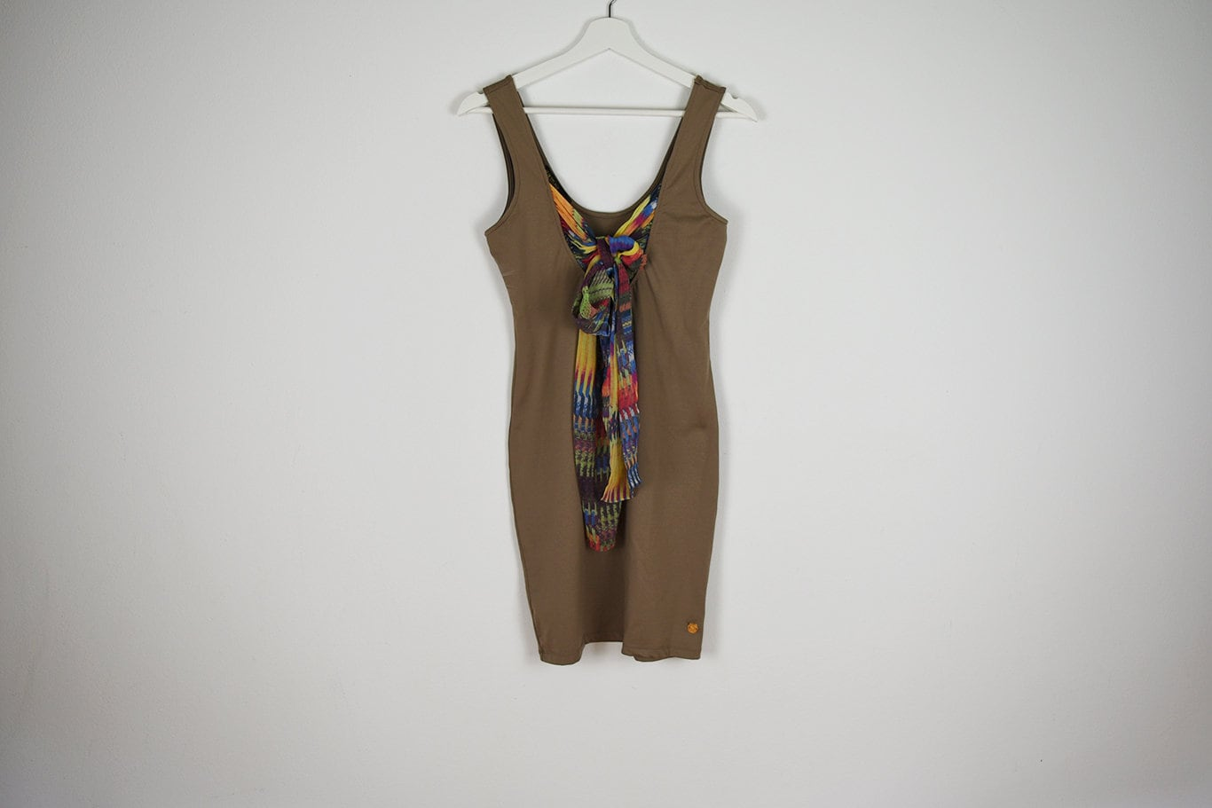 Vintage Scarf Styles -1920s to 1960s Vintage Tan Stretchy Bodycon Mini Dress With Attached Scarf $39.18 AT vintagedancer.com