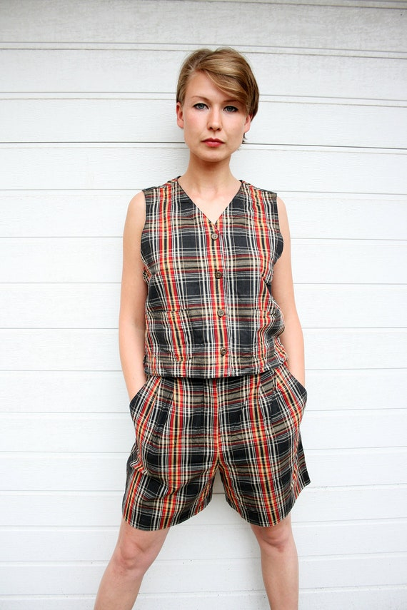 Vintage Plaid Vest and Shorts Two Piece Set