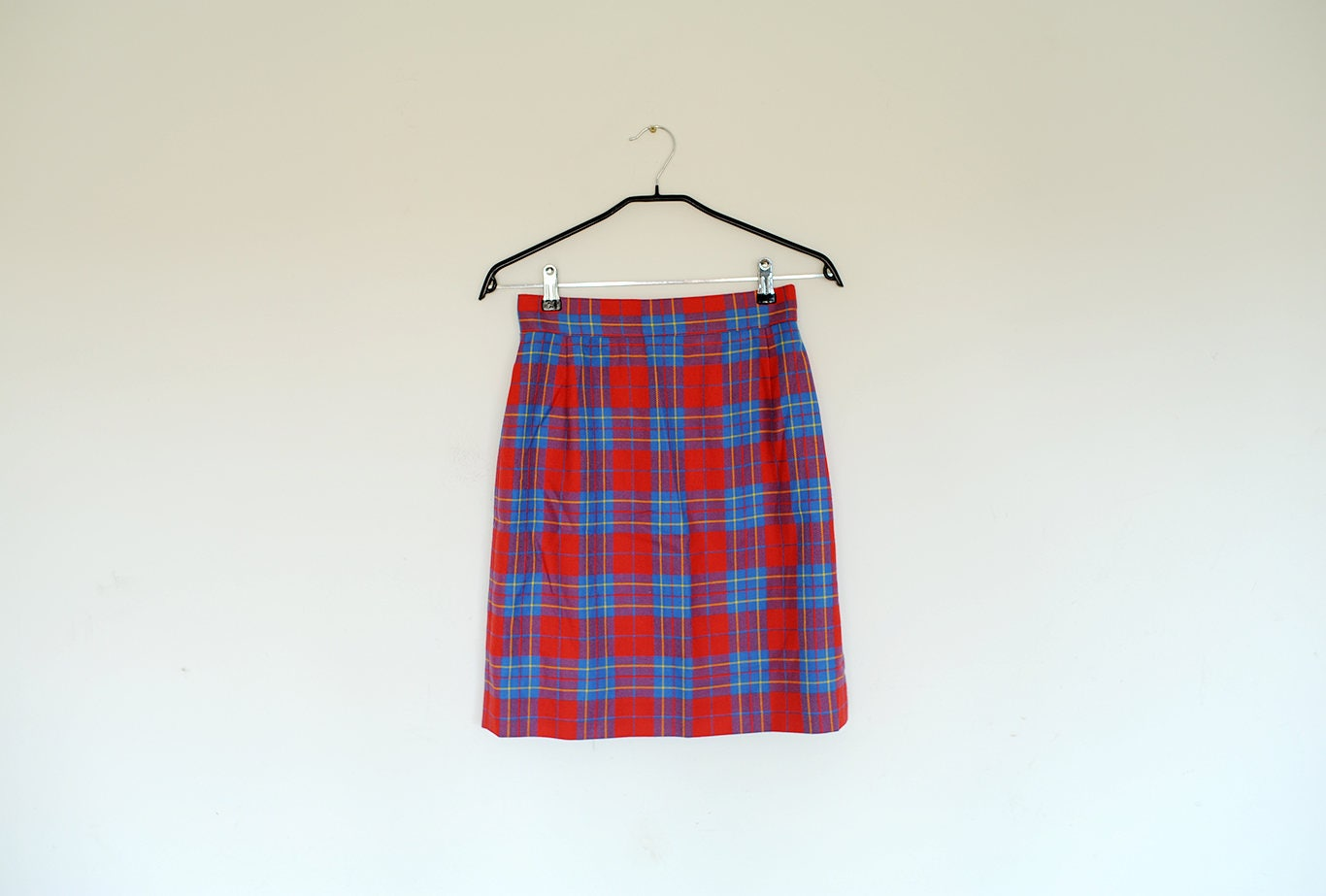 1f362aa1a2 Vintage Red and Blue Plaid High Waist Mini Pencil Skirt | Etsy