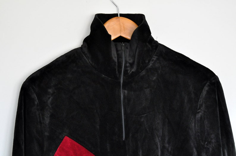 Vintage Black Velvet Colorful Patchwork Harlequin Pattern Long Sleeve Tunic Blouse