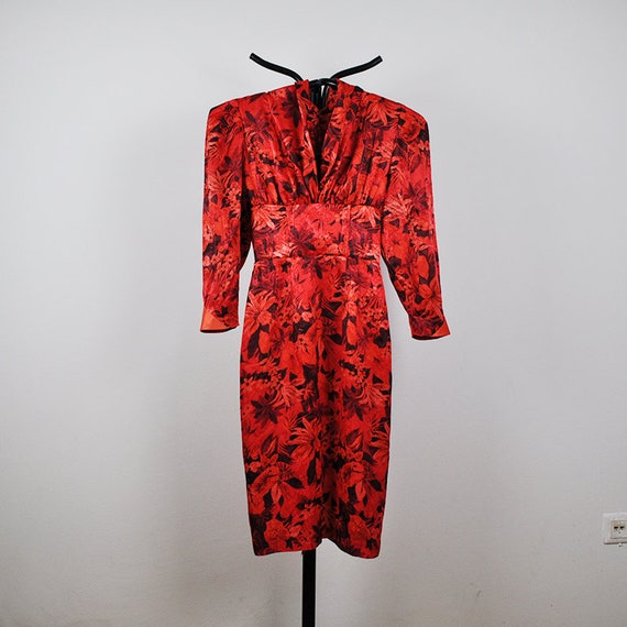 Vintage Red Floral Puffy Sleeves Wiggle Midi Silk