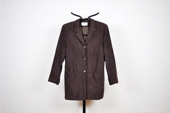 Vintage Dark Chocolate Brown Long Blazer Jacket