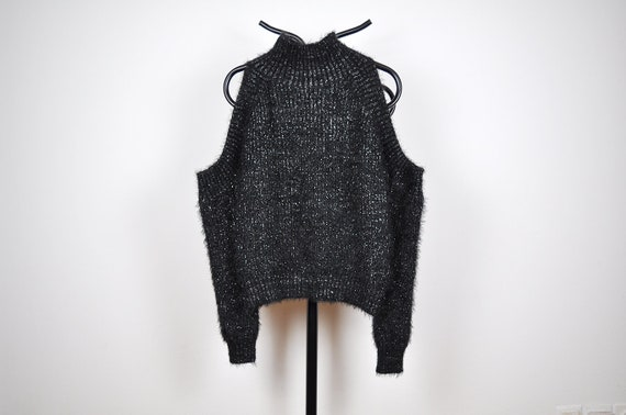 Vintage Black and Silver Metallic Fuzzy Knit Open