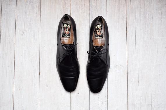 Vintage Black Leather Lace Up Oxford Dress Shoes
