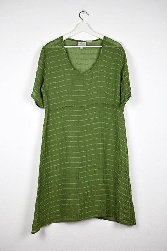 Vintage Sheer Olive Green Midi Dress - image 6