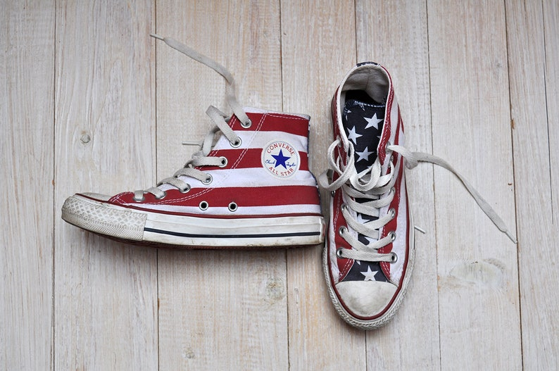 22e94c705ccf Vintage Converse Hi Tops American Flag Patriotic Stripes and