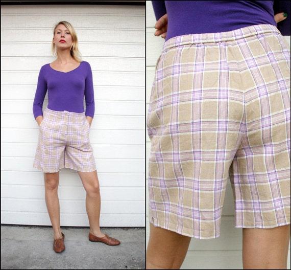Vintage Pastel Lavender Plaid Linen Bermuda Shorts