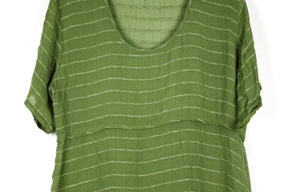 Vintage Sheer Olive Green Midi Dress - image 3