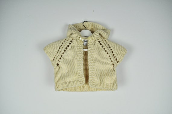 Vintage DESIGUAL Cream Chunky Knit Cropped Hooded