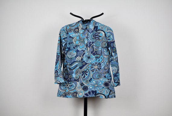 Vintage Blue Psychedelic Floral Print Blouse Top