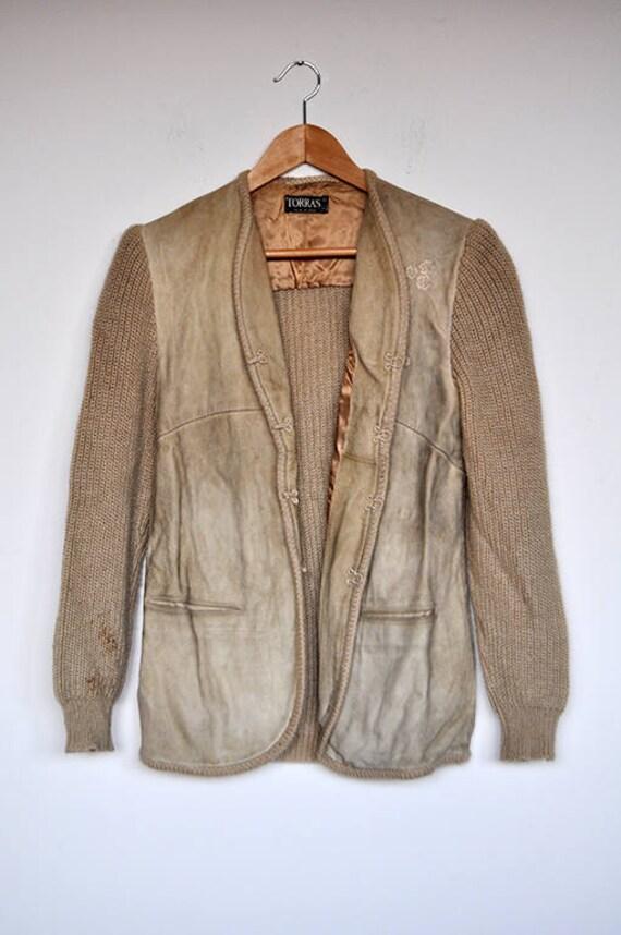 Vintage Tan Suede and Knit Wool Cardigan Jacket - image 5