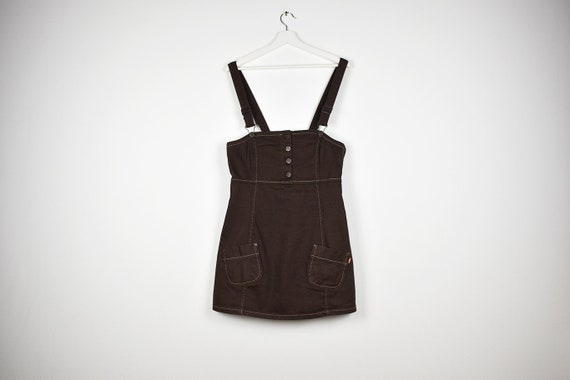 Vintage Brown Denim Bib Overalls Mini Dress