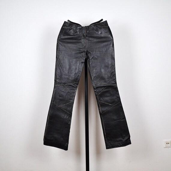 Vintage Black Leather Patchwork Biker Pants