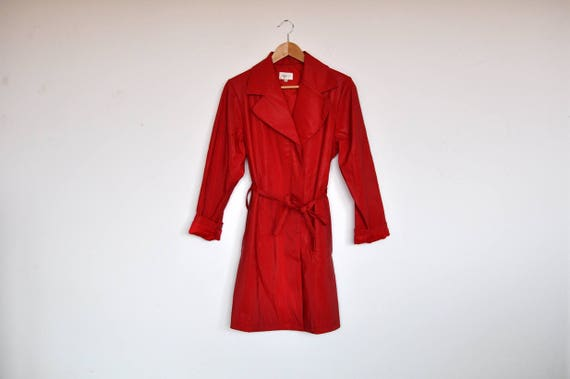 Vintage Lipstick Red Vinyl Rain Coat