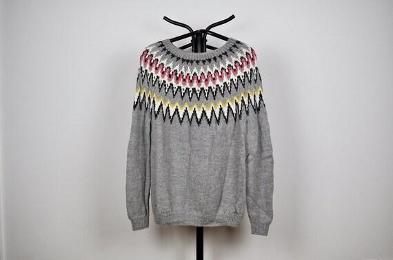 Vintage Grey Handknit Nordic Pattern Oversized Slo