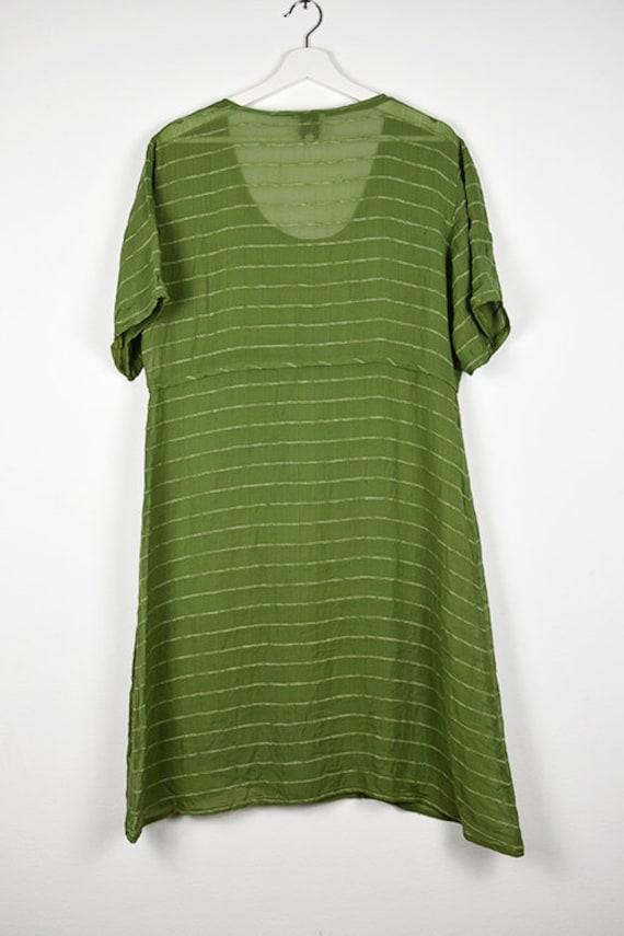 Vintage Sheer Olive Green Midi Dress - image 7