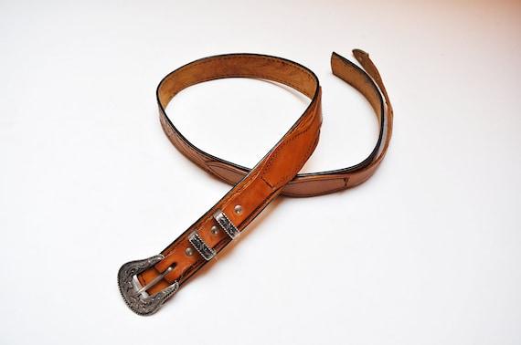name stamp stew belt vintage leather cognac floral embossed belt removable silver buckle hippie boho brown belt hand tooled leather belt