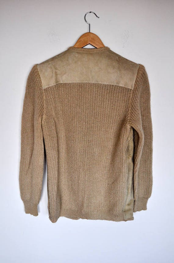 Vintage Tan Suede and Knit Wool Cardigan Jacket - image 6