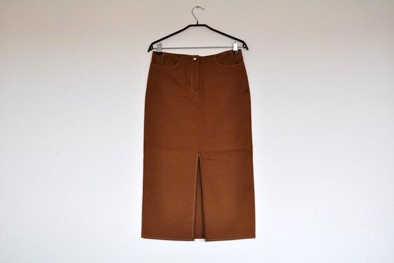 Vintage Brown Denim Pencil Midi Skirt