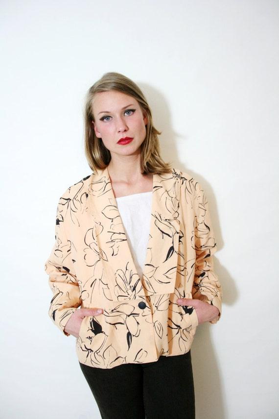 Vintage 80s Peach Floral Oversized Blazer Jacket