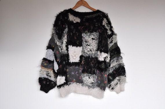 Vintage Oversized Handmade Fuzzy Textured Knit Sha
