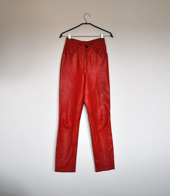 Vintage Red Leather High Waist Cigarette Pants