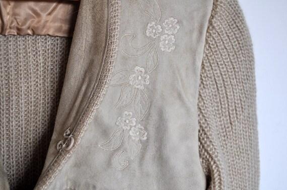 Vintage Tan Suede and Knit Wool Cardigan Jacket - image 3
