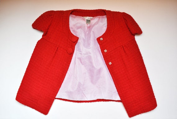 Vintage Red Knit Cap Sleeve Jacket Overcoat - image 5