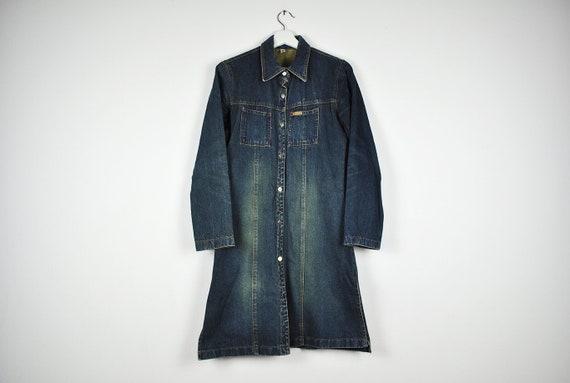 Vintage Blue Denim Long Sleeve Button Down Midi Dr