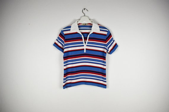 Vintage Red and Blue Striped Short Sleeve Collared