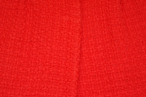 Vintage Red Knit Cap Sleeve Jacket Overcoat - image 3