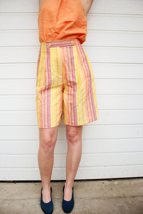 Vintage Sunrise in Vertical Stripes High Waist Lin
