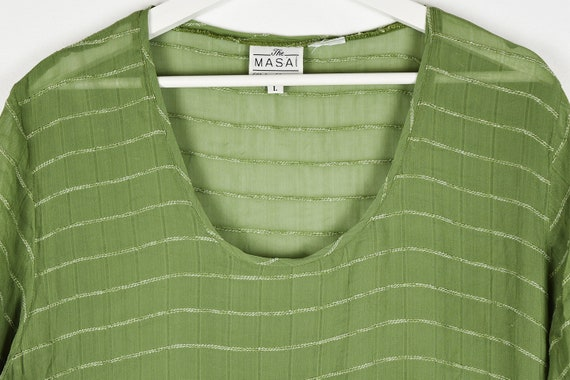 Vintage Sheer Olive Green Midi Dress - image 4