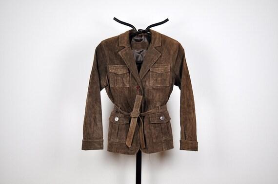 Vintage Dark Chocolate Brown Suede Leather Belted