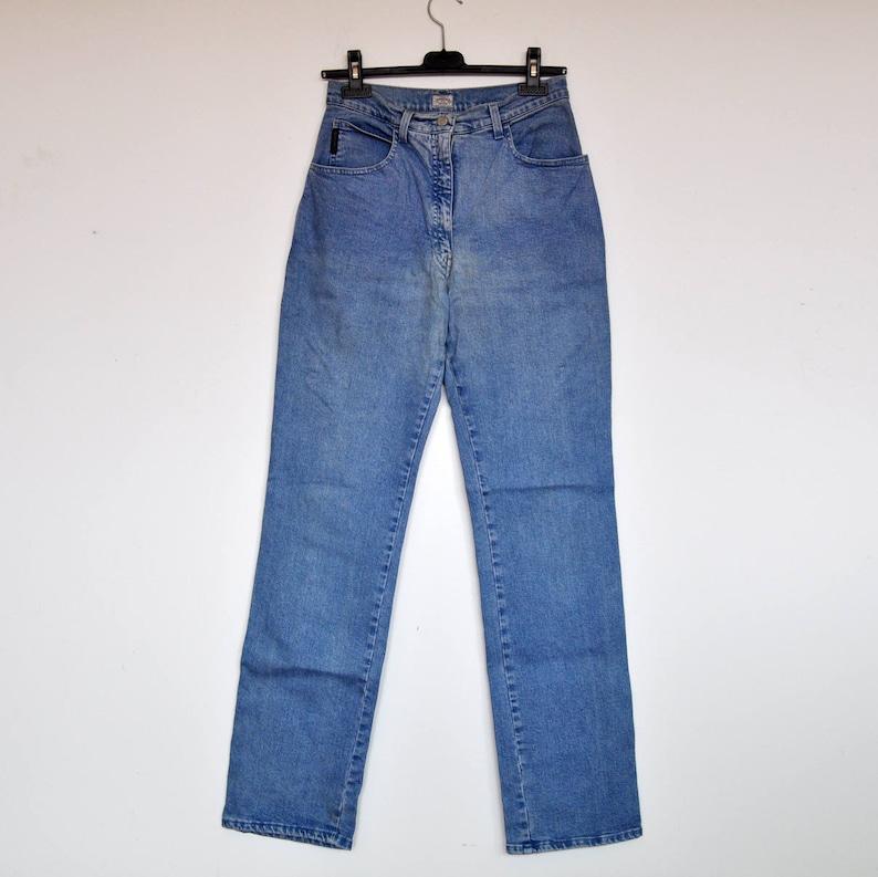 06c3163b69 Vintage Light Blue Denim Armani Skinny Jeans High Waist Stretchy Pants