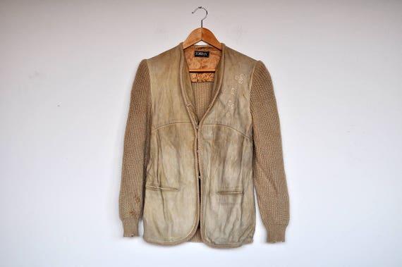 Vintage Tan Suede and Knit Wool Cardigan Jacket - image 2