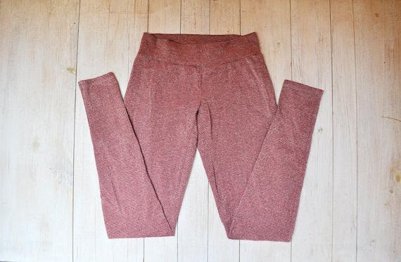 Vintage Red and Grey Striped Metallic Leggings