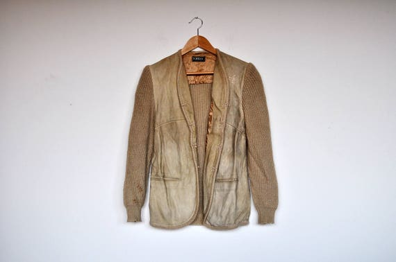 Vintage Tan Suede and Knit Wool Cardigan Jacket - image 1