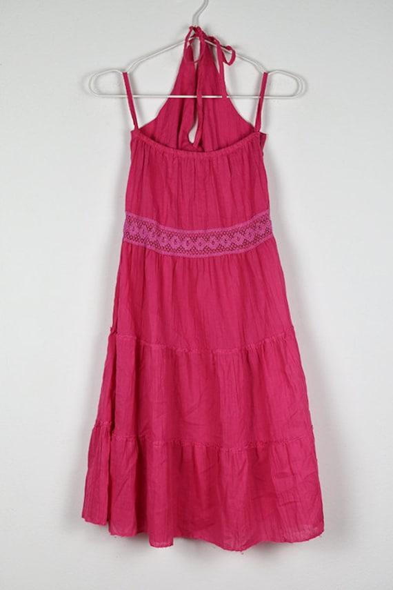 Vintage Pink Tiered Halterneck Midi Dress - image 6