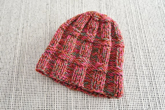 Pink Multicolor Multiyarn Thick Hand Knit Beanie H
