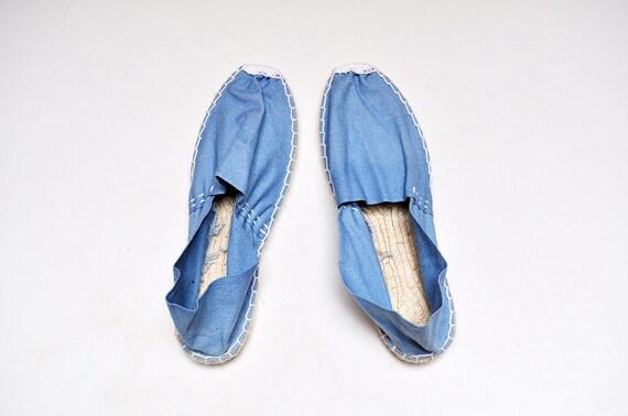 NOS Vintage Canvas Espadrilles Deadstock Blue Cott