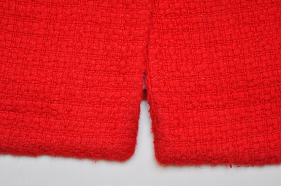 Vintage Red Knit Cap Sleeve Jacket Overcoat - image 2