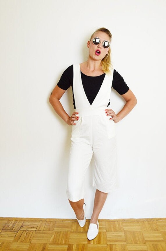 Vintage White Wide Leg Capri Pants Overalls