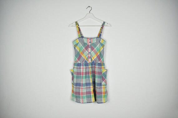 Vintage Pastel Plaid Summer Sun Sleeveless Mini Dr