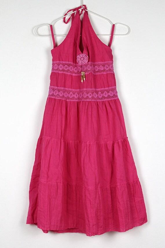 Vintage Pink Tiered Halterneck Midi Dress - image 5