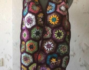 ON SALE - 10% OFF Granny Square Crochet Scarf