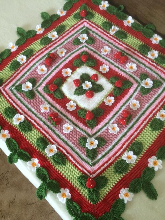 Häkeln Sie 3D Erdbeere Decke... Irish crochet Babydecke | Etsy