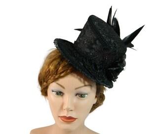 Midi Top hat, Derby Hat, goth fascinator, Halloween Headpiece, Burlesque Fascinator, Steampunk Hatinator, Cosplay Lolita, Ascot Ladieshat