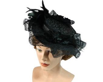 Midi Ladies Summerhat, Gothic Sunhat, Victorian Hat, Lolita Headpiece, Steampunk Headgear, Funeral Widow, Halloween Ladieshat, Derby Hat